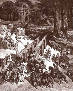 """Paul Gustave Louis Cristophe Doré, Il taglio dei cedri del Libano, incisione del 1865, da """"La Sacra Bibbia"""", Milano 1931, I Re, 5, 19."""