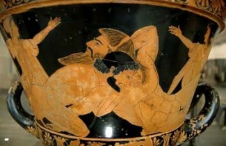 Cerveteri. Cratere attico, particolare (VI secolo a.C.), Eracle lotta con Anteo. Parigi, Musée du Louvre.