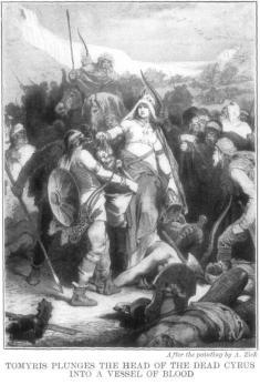 """Alexander Zick (1845-1907), Tomiri immerge nel sangue la testa di Ciro (da wikipedia). La regina dei Massageti punisce la superbia di Ciro il Grande immergendone la testa recisa in un vaso di sangue. Cosi Dante Alighieri nel XII canto del Purgatorio della Divina Commedia, 55-57: Mostrava la ruina e 'l crudo scempio/ che fé Tamiri, quando disse a Ciro:/ """"Sangue sitisti, e io di sangue t'empio"""". Una fama di crudeltà quella di Ciro il conquistatore che contrasta con le premesse dell'adolescente protagonista della Ciropedia."""