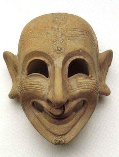 """San Sperate (CA), Maschera """"ghignante"""", VI- V secolo a.C."""