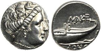 Tetrobolo in argento del regno di Macedonia, in circolazione da Filippo V a Perseo (187-168 a.C.): g 2,41; D/ Testa di Menade a d., R/ ΜΑΚΕ ΔΟΝΩΝ, prua di galea a d.; a d., M.