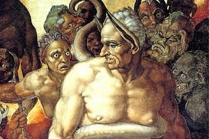 """Michelangelo Buonarroti, """"Il Giudizio Universale (1535-1541): particolare: Minosse, giudice infernale. Città del Vaticano, Musei Vaticani, Cappella Sistina."""
