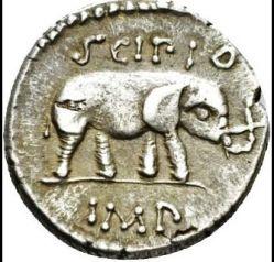 Rovescio di denario in argento (47-46 a.C.) di Q. Cecilio Metello Pio Scipio: dopo il trionfo celebrato da Lucio Cecilio Metello celebrato nel 250 a.C., l'elefante apparve frequentemente sulle monete dei Metelli.