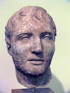 Testa di marmo da una statua di Tito Quinzio Flaminino. II secolo a.C. Delfi, Museo Archeologico Nazionale di Delfi.