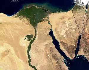 Ripresa satellitare delle regioni del Delta del Nilo.