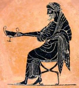 Dioniso seduto con khantaros. Particolare di un vaso attico a figure nere di Psiax (520-500 a.C.) da Vulci. Londra, British Museum.