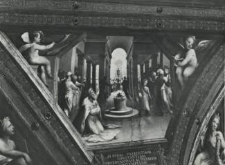 """Domenico Beccafumi, """"Sacrifico di Alessandro e Giuramento di Annibale"""" (XVI secolo). Siena, Palazzo Agostini, saletta al primo piano, soffitto. Parte sinistra."""