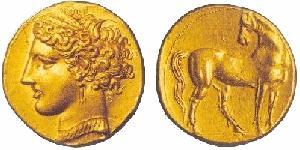 Zecca di Cartagine, statere in oro (350-320 a.C.). Al dritto testa di Core, al rovescio cavallo retrospiciente.