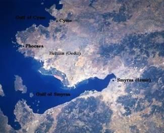 Ripresa satellitare con la localizzazione di Focea.