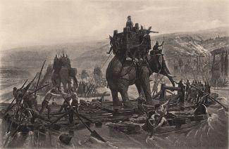 """Henri Motte, """"Gli elefanti di Annibale Barca attraversano il Rodano"""" (1878)."""