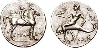 Didramma in argento di Taranto emesso durante l'occupazione annibalica, tra il 213/212 e il 209 a.C.
