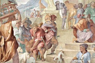 """Alessandro Allori, """"Siface re di Numidia riceve Scipione"""" (1579-1582): particolare. Poggio a Caiano, Villa Medicea, sala di Leone X."""